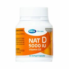 Mega Multi-Vitamins Nat-D 5000Iu Vitamin D3 Softgel Caps 30s 20463 NV