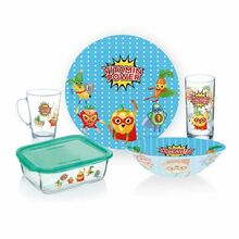 Luminarc Kids Glass Dinner Set Super Hero Junior 5pcs P7869