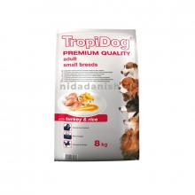 Tropidog Premium Quality Adult Small Breed Turkey & Rice 8kg Dog Food 5900469570470