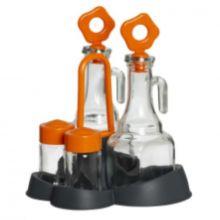 Herevin 2x275cc Oil and Vinegar Bottle and 2x70cc Salt Shaker Set - Grey 152071-560