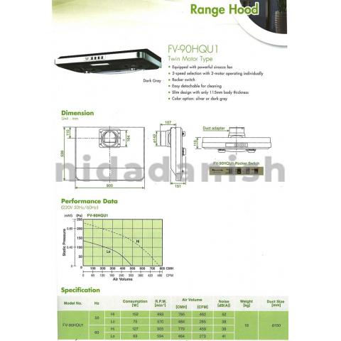 Panasonic Wall Mount Range Hood 90cm FV-90HQU1VBSH