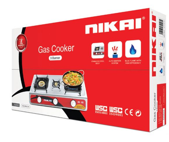 Nikai Gas Cooker 3 Burner NG845