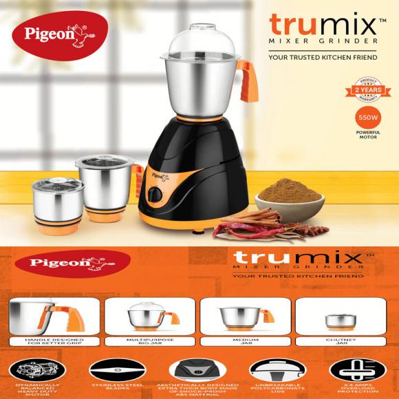 Pigeon Mixer Grinder 550w Stainless Steel Trumix