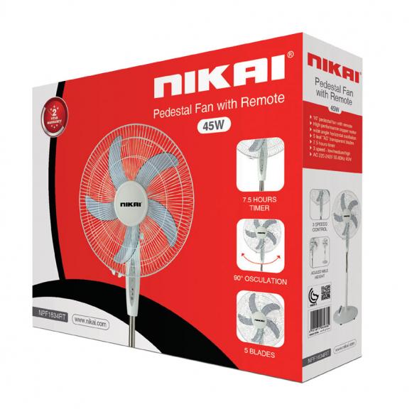 Nikai Stand Fan 16'' With Remote 65w NPF1634RT