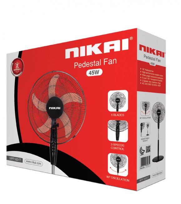 "Nikai Stand Fan 16"" 3 Speed NPF1631T"